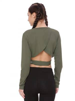 Thumb Hole Crop Colour Olive Size M