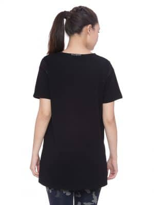Mesh Long Line Tee Colour Black Size L