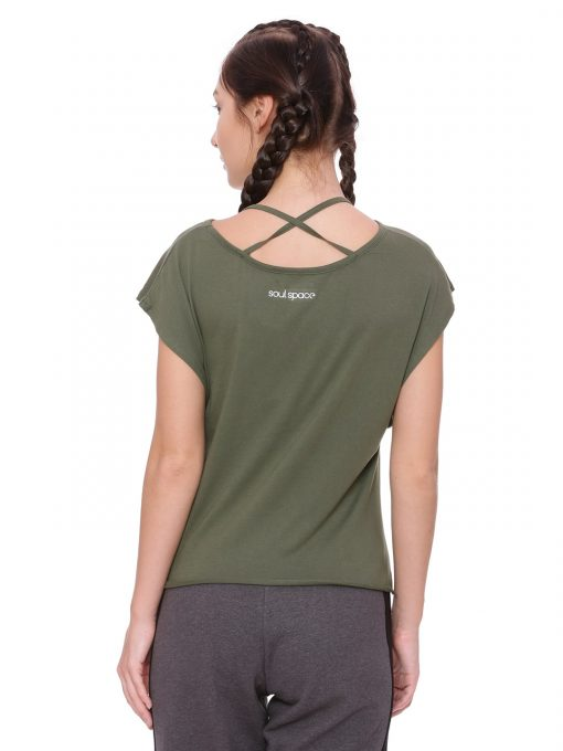 Crop Knot Tee Colour Olive Size M