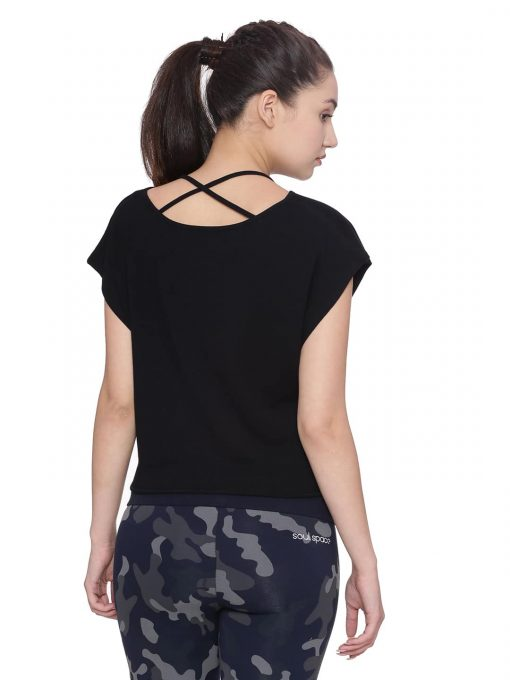 Crop Knot Tee Colour Black Size M