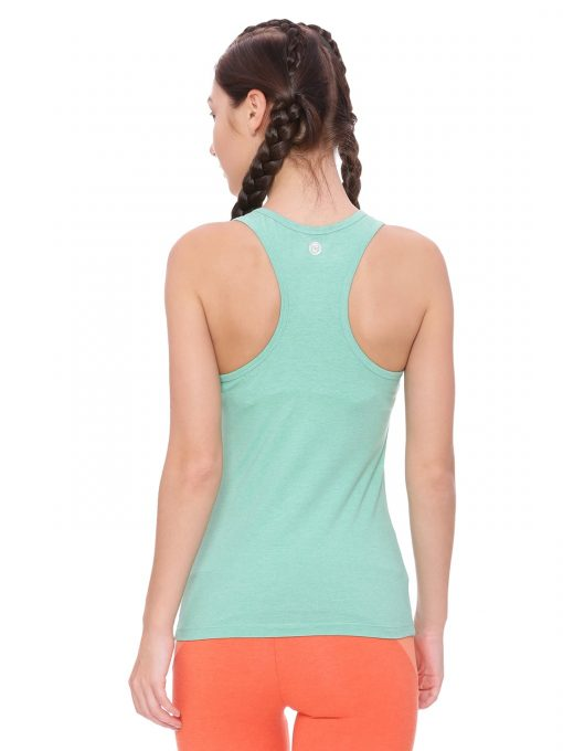 Super comfortable  soft and stylish organic cotton Racer Back Tank Top :Colour Persian Green Size L