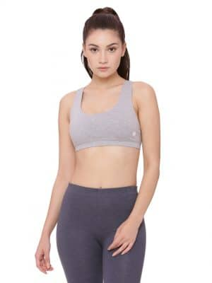 Super comfortable  soft and stylish organic cotton bra:Colour Pewter Grey Size L