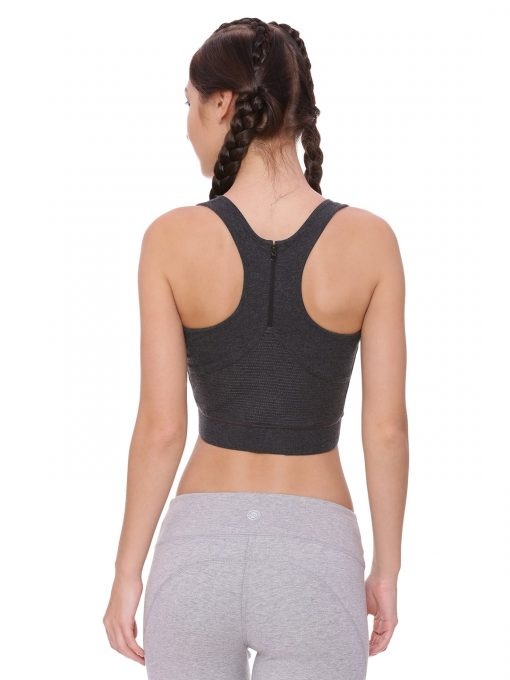 Super Comfortable and soft organic cotton Zippered Sports Bra Colour Anthra Melange Size L