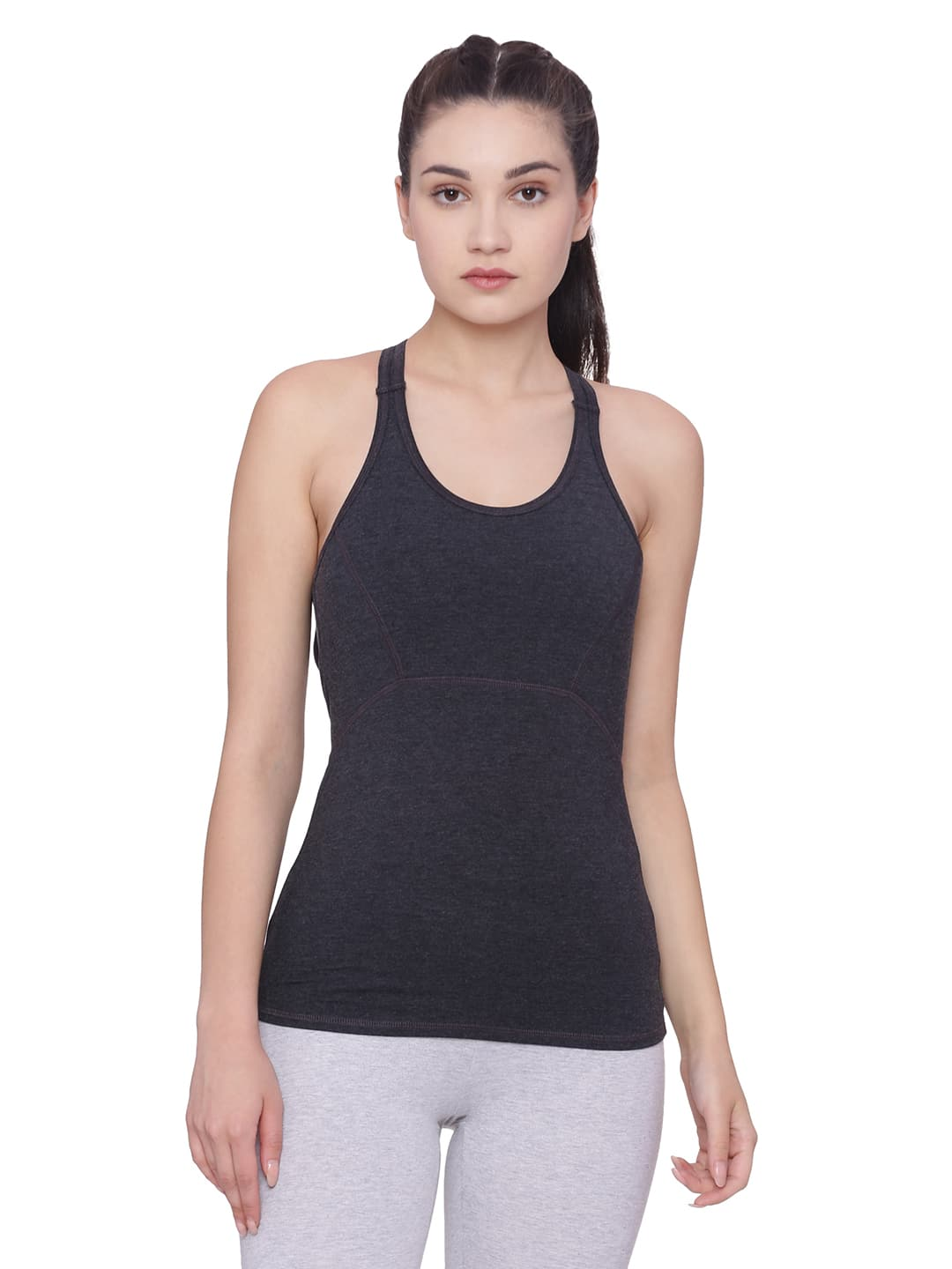 Super Comfortable and soft organic cotton Tank Bra Colour Anthra Melange Size XL