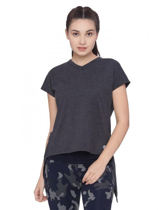 Super Comfortable and soft organic cotton Overlap Tee Colour Anthra Melange Size XL