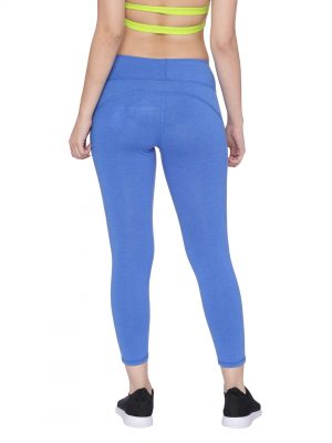 Super Comfortable and soft organic cotton Cropped Leggings with pockets Colour Electric Blue Size XL