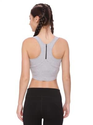Super Comfortable and soft organic cotton Zippered Sports Bra Colour Pewter Grey Size L