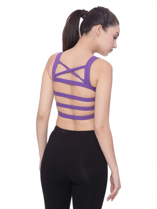 Super Comfortable and soft organic cotton Strappy Bra Back Detail Colour Violet Size L