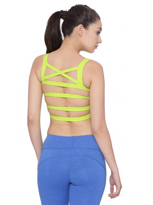 Super Comfortable and soft organic cotton Strappy Bra Back Detail Colour Lime Size L