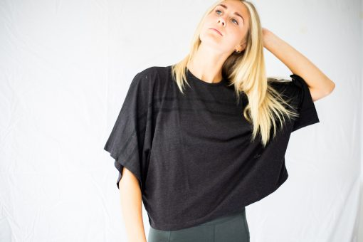Organic Cotton wrap tee in black grey